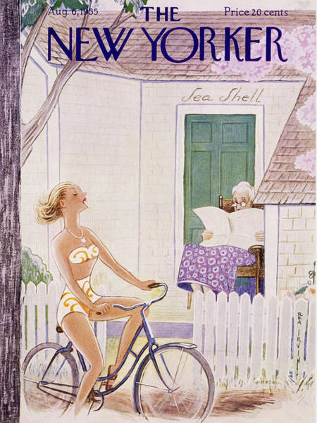Bicycle Painting - New Yorker August 6 1955 by Rea Irvin
