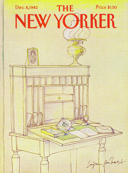 Writing Desk Drawing - New Yorker Cover December 6th 1982 by Eugene Mihaesco