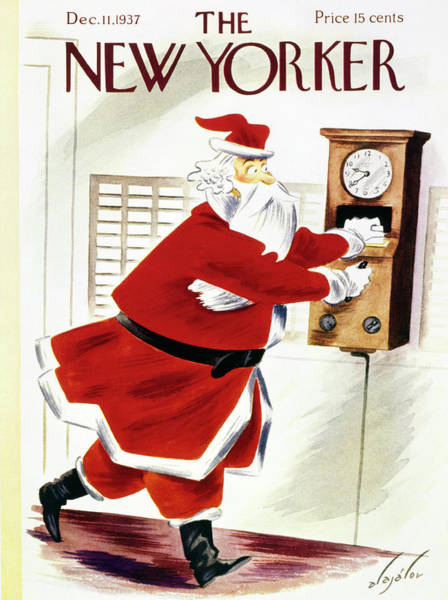 Christmas Drawing - New Yorker December 11 1937 by Constantin Alajalov
