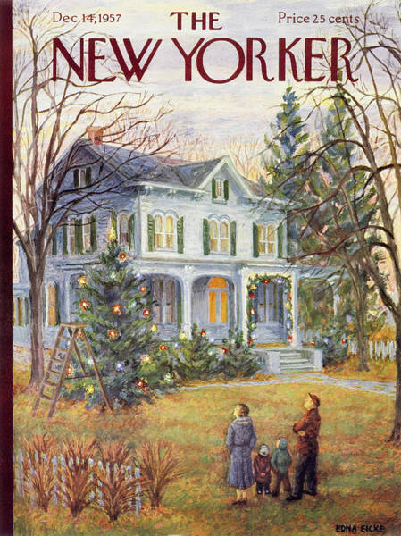 Porch Painting - New Yorker December 14 1957 by Edna Eicke