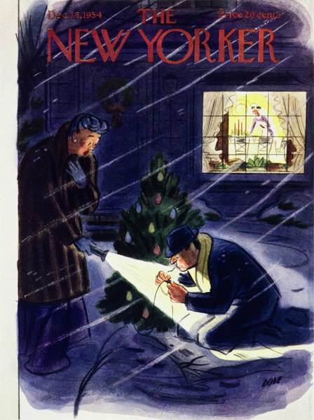 Snowy Painting - New Yorker December 18 1954 by Leonard Dove