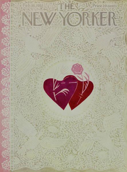 Flower Painting - New Yorker February 16 1952 by Ilonka Karasz