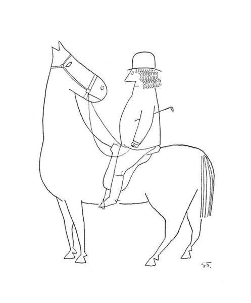 Horse Drawing - New Yorker February 18th, 1950 by Saul Steinberg