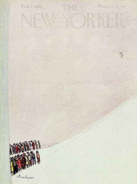 Crowd Painting - New Yorker February 2 1952 by Abe Birnbaum