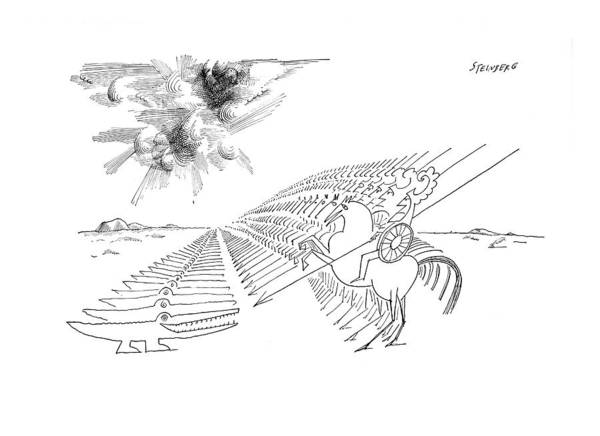 Battle Drawing - New Yorker February 29th, 1964 by Saul Steinberg
