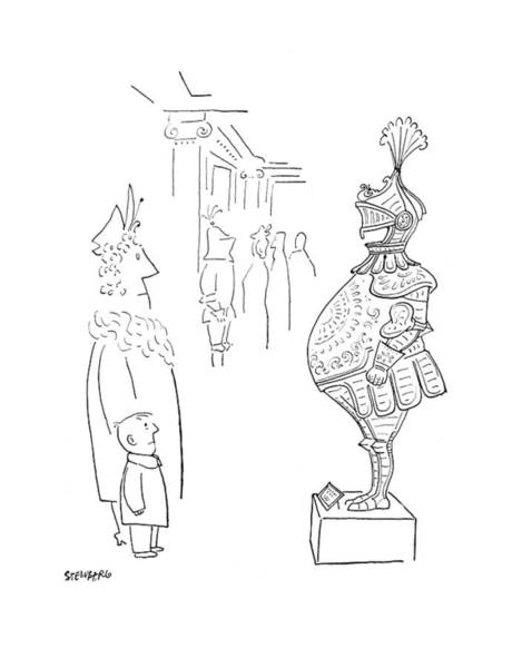 Armor Drawing - New Yorker February 3rd, 1951 by Saul Steinberg