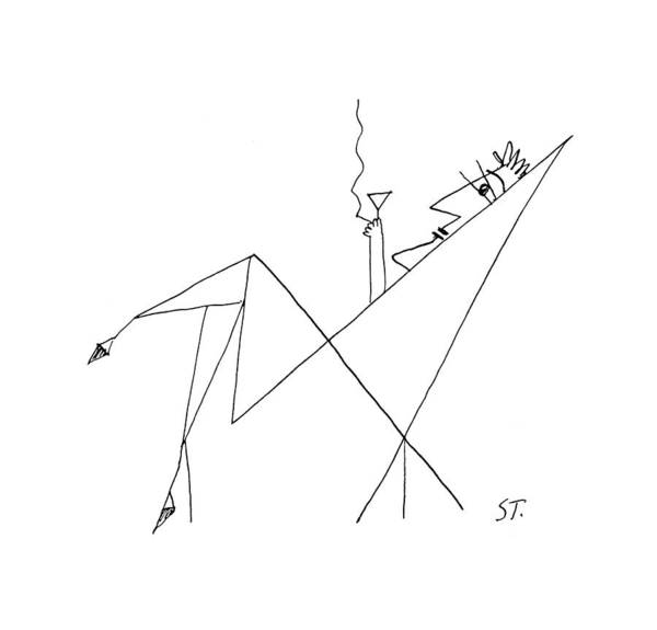 Drink Drawing - New Yorker January 26th, 1957 by Saul Steinberg