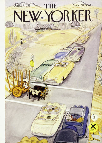 Transportation Painting - New Yorker January 27 1951 by Daniel Brustlein