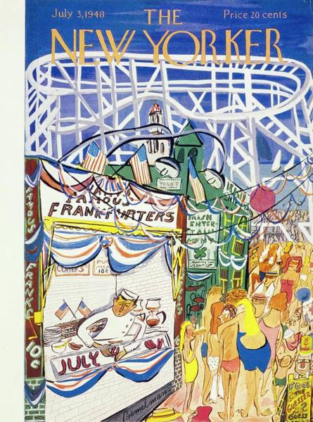 Roller Coasters Drawing - New Yorker July 03 1948 by Ludwig Bemelmans
