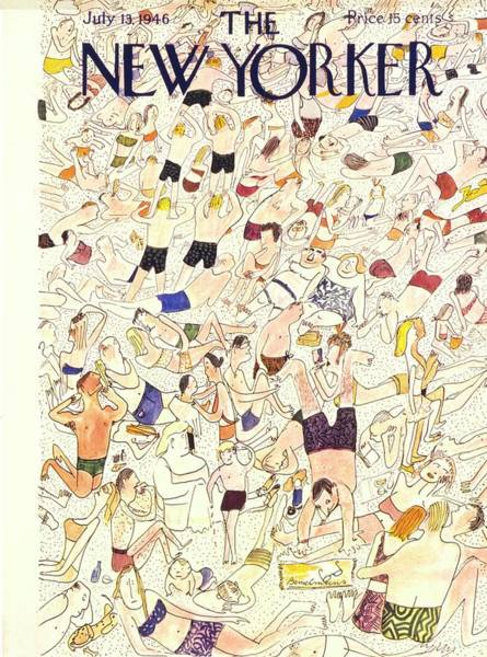 Mob Drawing - New Yorker July 13 1946 by Ludwig Bemelmans