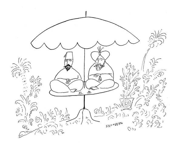 Shaded Drawing - New Yorker July 17th, 1954 by Saul Steinberg