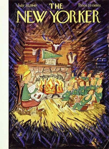 Summer Camp Painting - New Yorker July 30 1949 by Ludwig Bemelmans