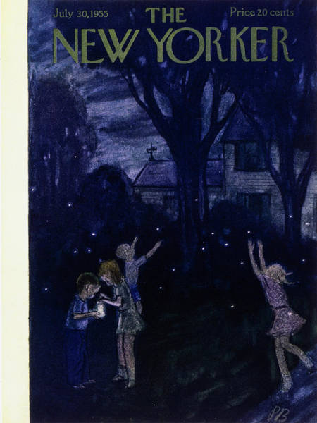 Night Painting - New Yorker July 30 1955 by Perry Barlow