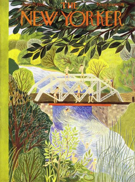 River Painting - New Yorker June 17 1950 by Ilonka Karasz