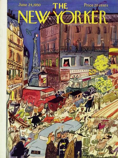 Bicycle Painting -  New Yorker June 24 1950 by Ludwig Bemelmans