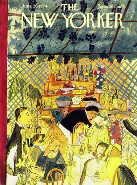 Wine Painting - New Yorker June 26 1954 by Ludwig Bemelmans