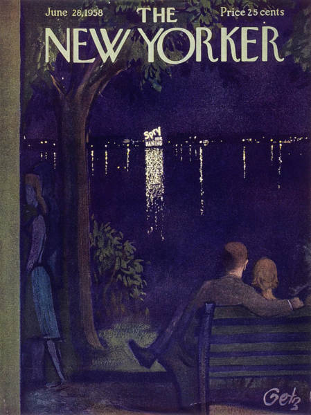 City Lights Painting - New Yorker June 28 1958 by Arthur Getz