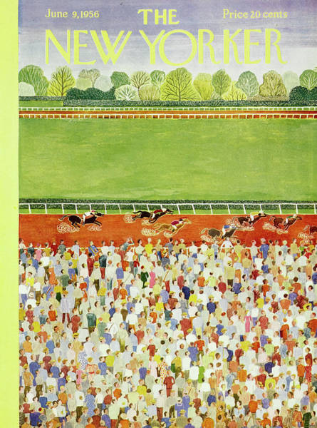Race Horse Painting - New Yorker June 9 1956 by Ilonka Karasz