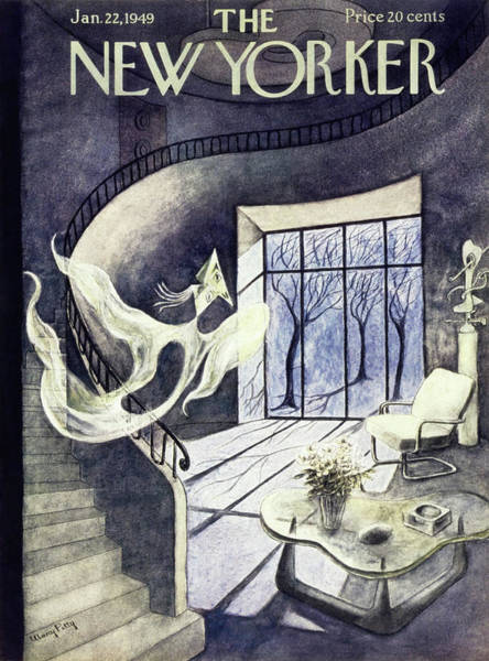 Ghosts Painting - New Yorker Magazine Cover Of A Cubist Ghost by Mary Petty