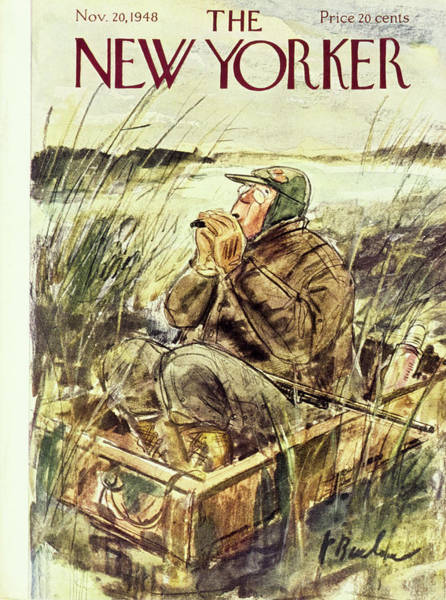 Headgear Painting - New Yorker Magazine Cover Of A Duck Hunter by Perry Barlow