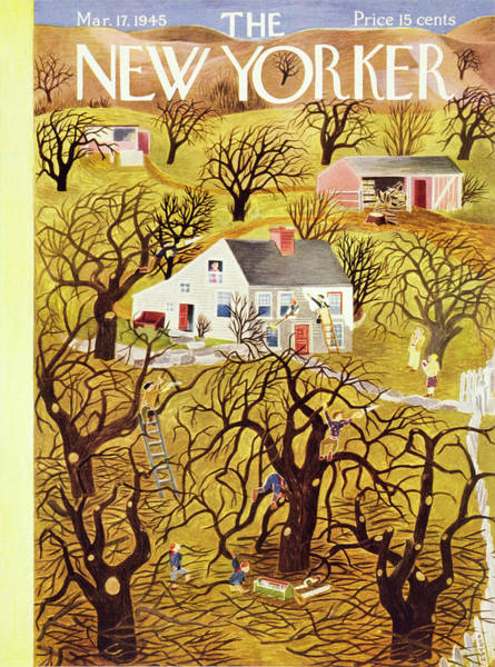 Wall Art - Painting - New Yorker Magazine Cover Of A Farm In Spring by Ilonka Karasz