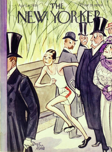 Formal Wear Painting - New Yorker Magazine Cover Of A Jogger Among Well by Peter Arno