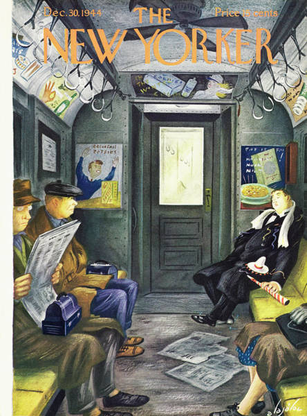 Celebration Painting - New Yorker Magazine Cover Of A Man Sleeping by Constantin Alajalov