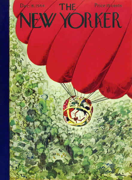 Wall Art - Painting - New Yorker Magazine Cover Of A Parachute Delivery by Daniel Brustlein