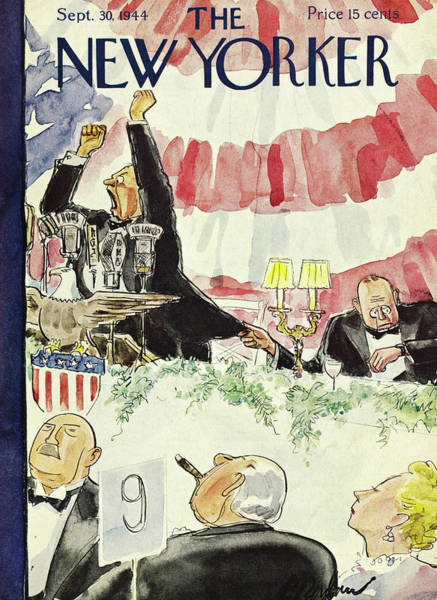 Formal Wear Painting - New Yorker Magazine Cover Of A Politician Giving by Perry Barlow