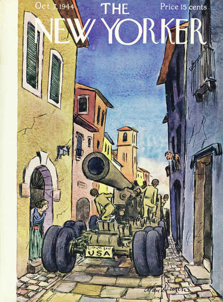 City Painting - New Yorker Magazine Cover Of A Tank On A Narrow by Alan Dunn
