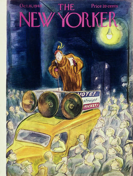 City Lights Painting - New Yorker Magazine Cover Of A Woman On A Truck by Julian De Miskey