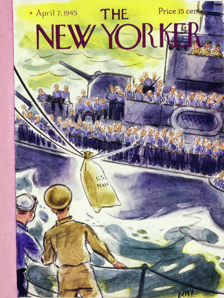 Delivering Painting - New Yorker Magazine Cover Of Mail Being Delivered by Leonard Dove