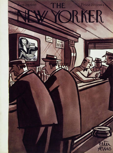 New Yorker Magazine Cover Of Men In A Bar Art Print