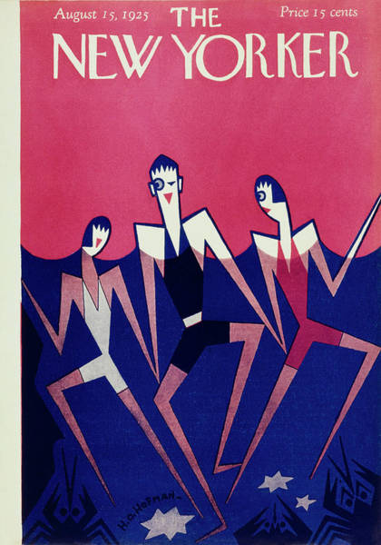 Nobody Painting - New Yorker Magazine Cover Of People Swimming by H O Hofman