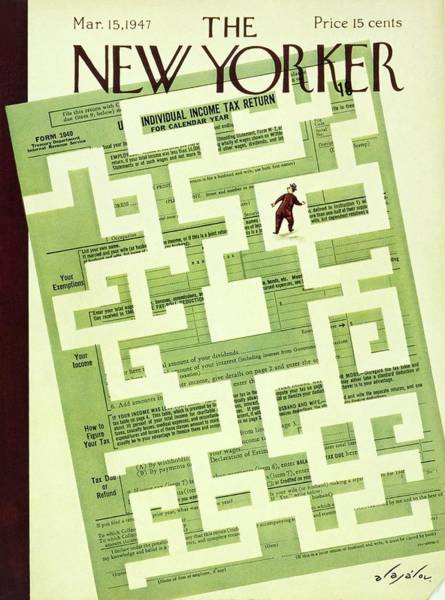 Men Painting - New Yorker March 15 1947 by Constantin Alajalov