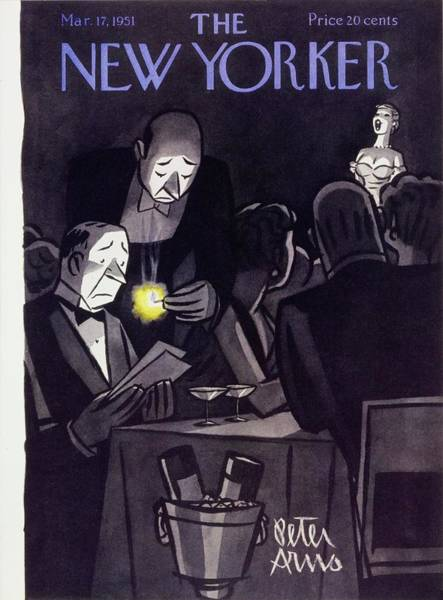 Waiter Painting - New Yorker March 17 1951 by Peter Arno