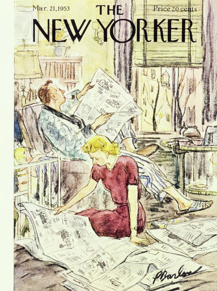 Reading Painting - New Yorker March 21 1953 by Perry Barlow