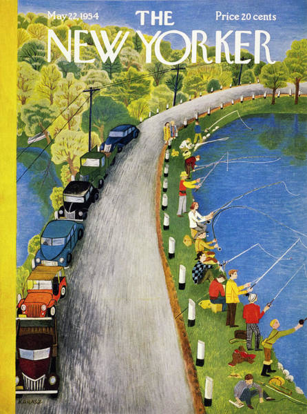 Fishing Painting - New Yorker May 22 1954 by Ilonka Karasz