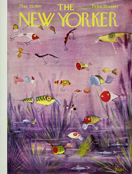 Underwater Painting - New Yorker May 25 1957 by Robert Kraus