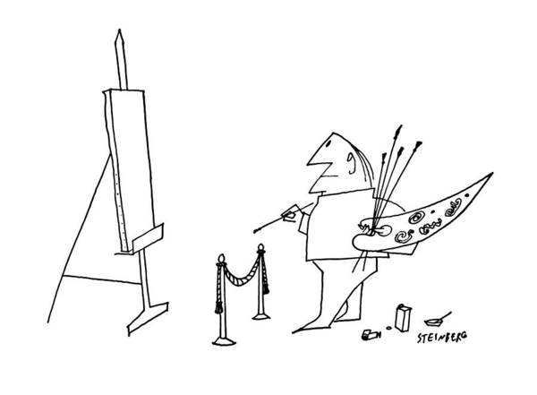 Attitude Drawing - New Yorker May 27th, 1961 by Saul Steinberg