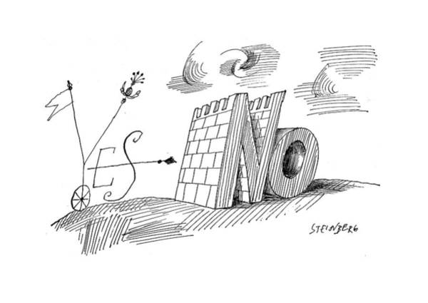 Attitude Drawing - New Yorker May 28th, 1960 by Saul Steinberg