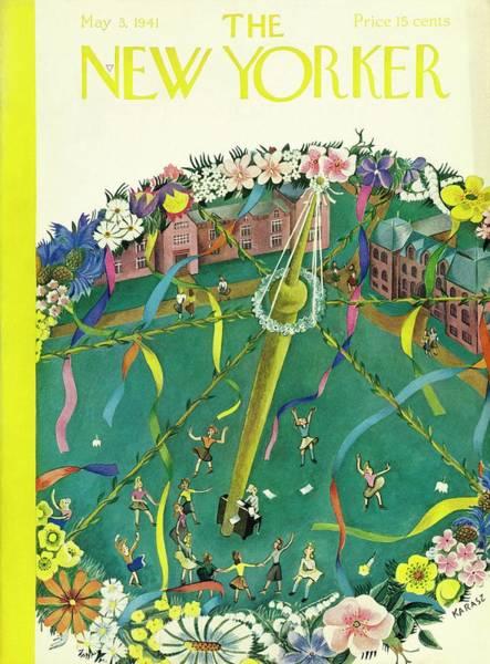 Spring Blossom Painting - New Yorker May 3 1941 by Ilonka Karasz