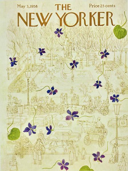 Purple Flower Painting - New Yorker May 3 1958 by Ilonka Karasz