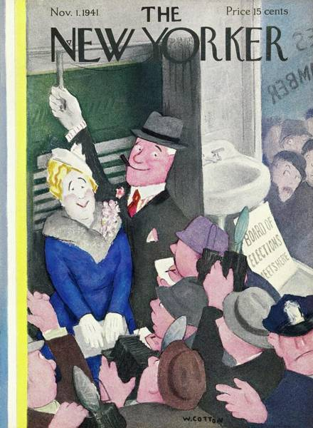 Election Painting - New Yorker November 1 1941 by William Cotton