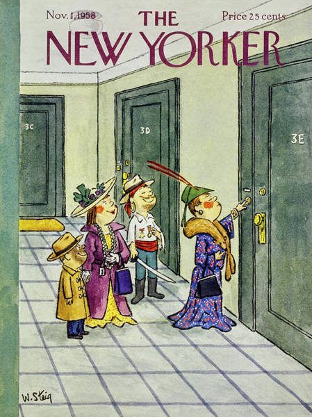 Halloween Painting - New Yorker November 1 1958 by William Steig