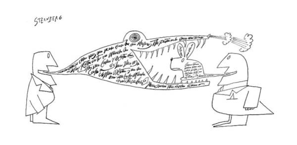 Reptile Drawing - New Yorker November 12th, 1960 by Saul Steinberg