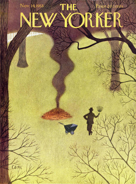 Rake Painting - New Yorker November 14 1953 by Charles Martin
