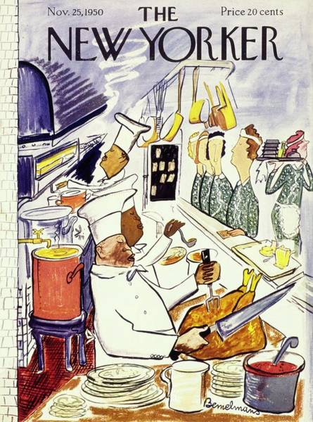 Thanksgiving Painting - New Yorker November 25 1950 by Ludwig Bemelmans