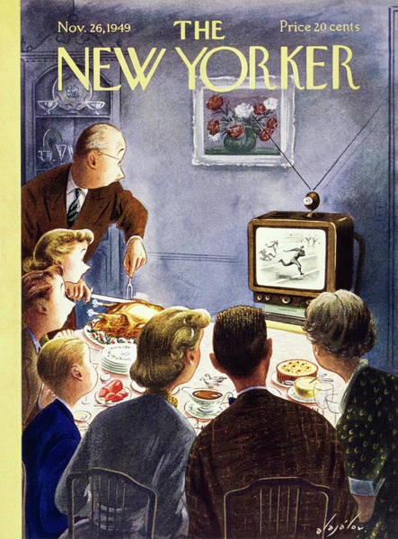 Parents Painting - New Yorker November 26 1949 by Constantin Alajalov