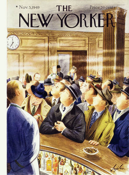 Bar Painting - New Yorker November 5 1949 by Constantin Alajalov